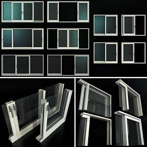 sliding stained glass aluminum 3D