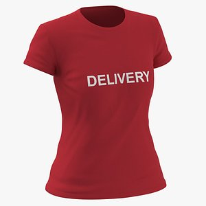 Female Crew Neck Worn Red Delivery 01 3D model