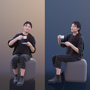woman young sitting 3D