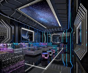 3D KTV bar box box box entertainment club volume science fiction science and technology sense model