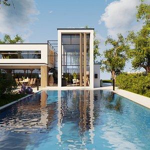 Modern villa 2021 Blender Eevee and Cycles 2 3D