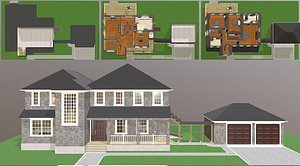 3D Furnished suburban house