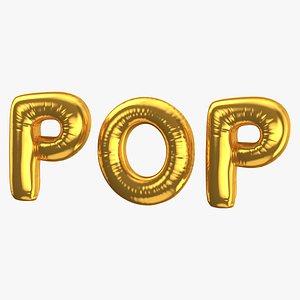 Foil Baloon Words POP Gold model