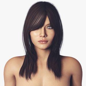 3D model Brunette Nude Female - Fully Rigged