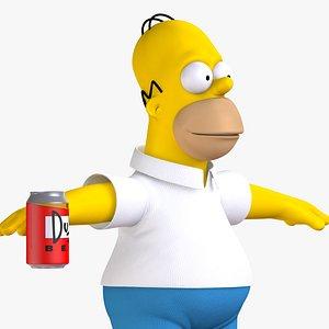 3D homer simpson character