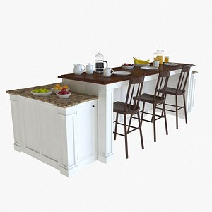 Kitchen Island with Bar 3D model