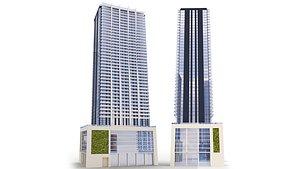 3D model Building 1010 Brickell Condos Miami