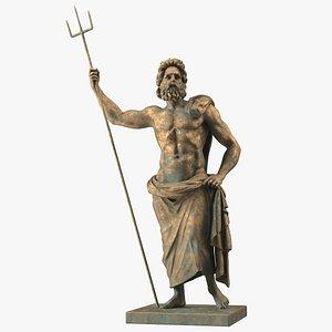 Poseidon Greek God Statue Bronze 3D