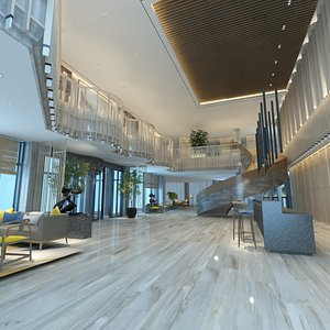 3D Two-Story Lobby and Lounge Interior