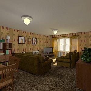cartoon living room hall 3D