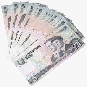 3D Fan Shaped North Korea 5 Won Banknotes