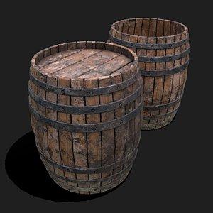 Wooden Barrel 3D model