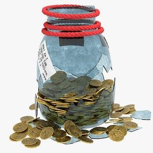 broken coin jar 3D