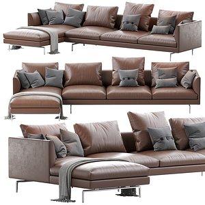 1333 flamingo zanotta sofa 3D model