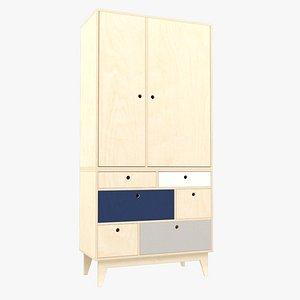 Plywood wardrobe 2 3D model