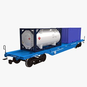3D Railcar ISO Containers Carrier