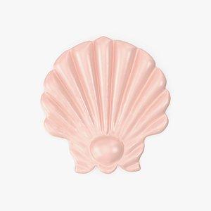 3D Giant Pink Seashell Pool Float model