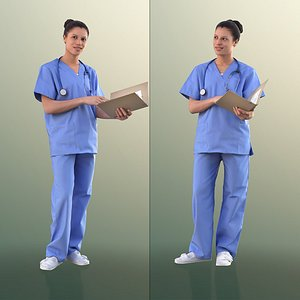 10897  Diana - Nurse Standing With Documents 3D model