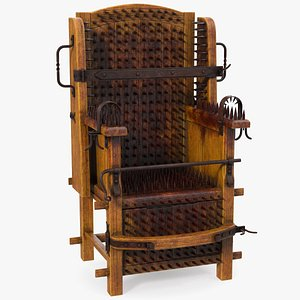 Medieval Spiked Torture Chair with Bloodstains 3D