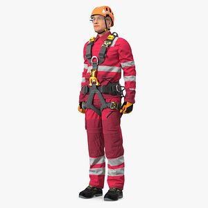 3D Alpinist Worker Standing Pose