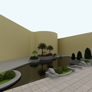 3D Decorative Pool with Tropical Plants