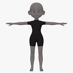 base mesh girl characterv08 3D model