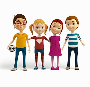 3D cartoon friends kids -