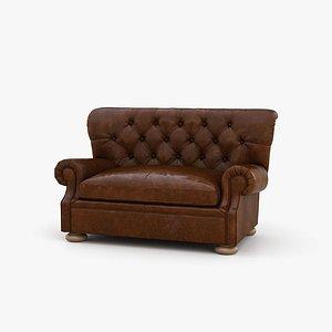 3D Restoration Hardware Churchill Leather Sofa model