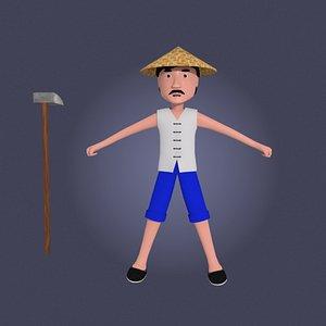 cartoon asian farmer 3D