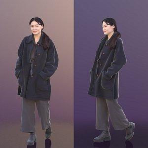 3D model woman young coat