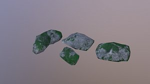 3D Low Poly Mossy Rocks model