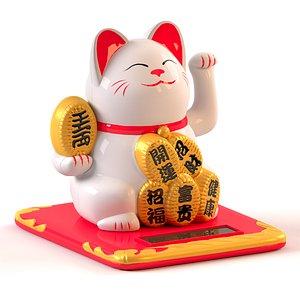 white maneki neko cat 3D model