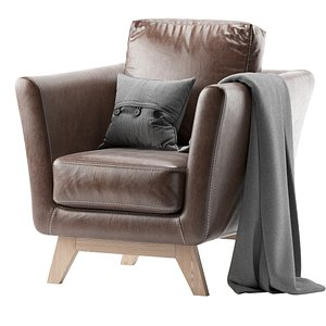 3D model Armchair Dublin Dusty Leather