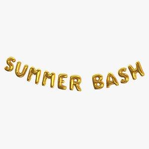 3D Foil Baloon Words Summer Bash Gold model