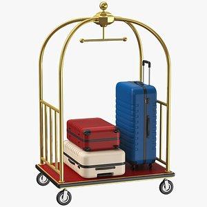 3D Baggage Hotel Cart model