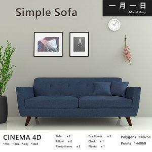 3D Simple living room sofa