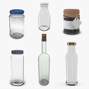 3D Glass Bottles Collection 4 model