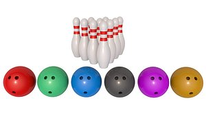3D Bowling Balls With Pins model