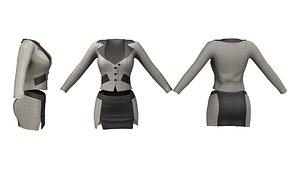 3D Ladies Double Slit Mini Skirt Jacket Suit model