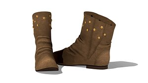 3D model Ladies Flat Ankle Boots