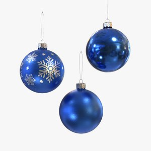 Christmas balls blue 3D model