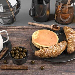 croissant decoration food 3D model