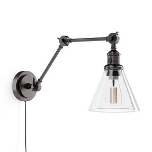 3D Articulating Arm Flared Glass Plug-In Sconce