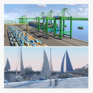 Container Terminal and Yacht Marina 3D model