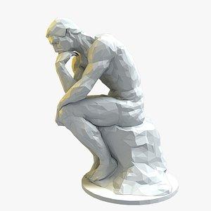 3D thinker statue stylized