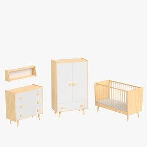 set furniture bed infant 3D
