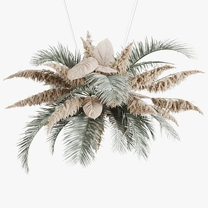 3D hanging decor palm leaves model