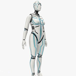 3D android cyborg robot