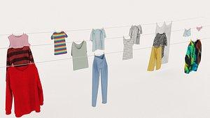 Textured Hanged ClothesLine 3D model