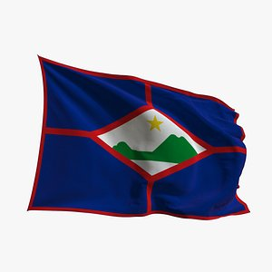 Realistic Animated Flag - Microtexture Rigged - Put your own texture - Def St Eustatius 3D